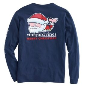 Vineyard Vines blue holiday long sleeve shirt